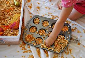 fall sensory bin what can we do with paper and glue