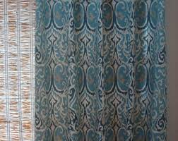 Blue Ikat Curtain Panels 52x84 Curtains Etsy