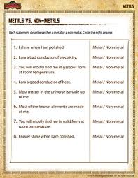 metals vs non metals u2013 5th grade science printables