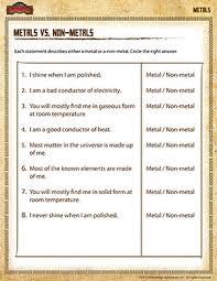 metals vs non metals u2013 5th grade science printables