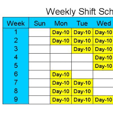 10 hour schedules for 6 days a week by shift schedules