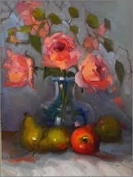 mardi gras roses les fruits et fleurs 12x16 on linen coral mardi gras