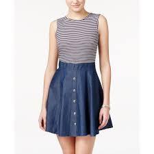 teeze me juniors u0027 striped chambray fit u0026 flare dress 55