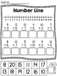 first grade math unit 4 addition to 20 number lines cut and
