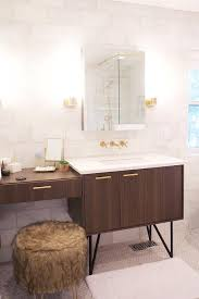 Kohler Bathroom Lights Walnut Vanity With Brass Pulls Contemporary Bathroom