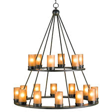 black wrought iron rustic lodge tiered 18 light candle chandelier kathy kuo home