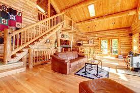 Cabin Sofa Luxury Log Cabin Living Room With Leather Sofa U2014 Stock Photo