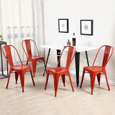 Red Dining Room Table by Amazon Com Belleze Set Of 4 Vintage Style Dining Chairs Steel