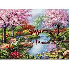 gold collection japanese garden counted cross stitch kit 16 x 12