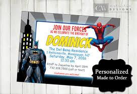 batman spiderman birthday invitations spiderman invitations