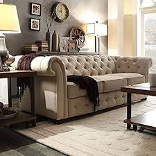 Chesterfield Sofa Linen Tribecca Home Knightsbridge Beige Linen Tufted Scroll