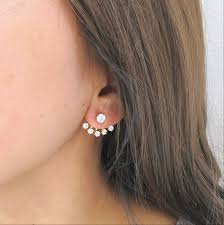 earring on ear 18k gold plated five ear jacket cubic