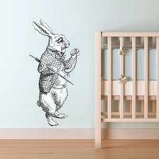 white rabbit vinyl wall sticker by oakdene designs white rabbit vinyl wall sticker