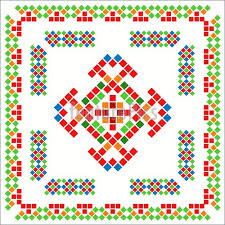 traditional mexican ornaments fragment illustration