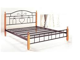 priceworth p001 double bed beech oak metal frame wooden legs