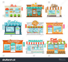 shops stores icons set flat design stock vector 304406681