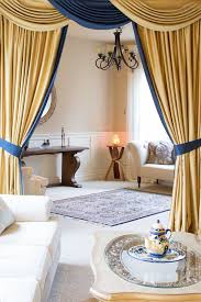 Gold And Blue Bedroom Luxury Swags And Tails Valance Curtain Drapes
