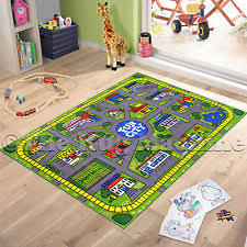 childrens city roads design play rug anti slip washable 133cm x