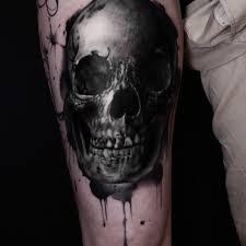 discrete thigh 2 skull thigh on tattoochief com