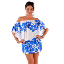 floral off the shoulder cover up tunic short dress in white blue