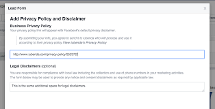 privacy policy for facebook lead ads how to
