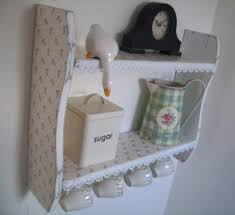 Shabby Chic Spice Rack 54cm X 45cm Shabby Chic White Small Roses Shelves With Lace Trim