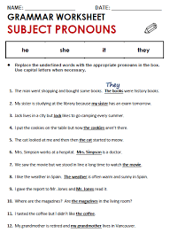 replacing nouns with pronouns worksheets huanyii com