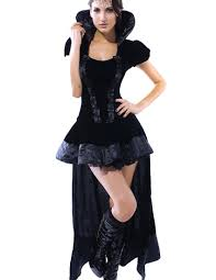 black stand collar short sleeves high low queen costume
