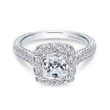 Vintage Style Cushion Cut Engagement Rings Zelda 14k White Gold Cushion Cut Halo Engagement Ring Er7500w44jj