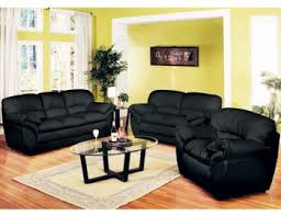 lovely decoration black leather living room set fashionable design