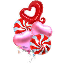 heart balloon bouquet valentines day pinwheel hearts balloon bouquet 5pcs