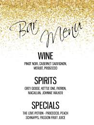 wedding drink menu template custom bar menu for any event drink menu wedding bar menu bar