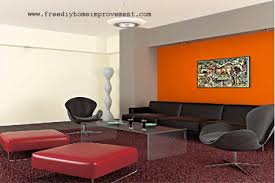 home interior wall paint color scheme with orange color home