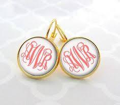 Gold Monogram Earrings Personalized Monogram Earrings Name Earrings Solid Gold