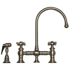 Gooseneck Kitchen Faucets Whitehaus Whkbcr3 9101 Deck Mount Bridge Kitchen Faucet With Side
