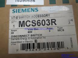 siemens mcs603r disconnect i t e switch 30a 600v 3 poles mcs type