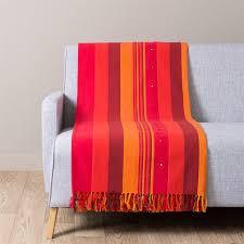 plaid canapé maison du monde en coton et orange 160 x 210 atlas safran