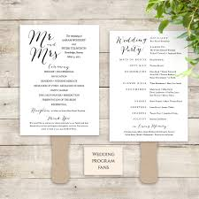 paddle fan program template fan wedding program instant printable template paddle