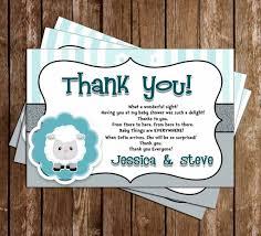 novel concept designs little lamb baby shower thank you card