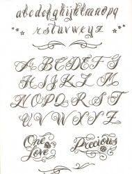 cursive letters tattoos template design