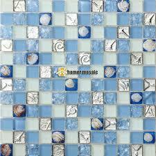 k che hellblau hellblau kristallglas gemischt muschel mosaik fliesen ehgm1053a