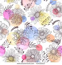seamless pattern flowers outlines watercolor hearts stock vector