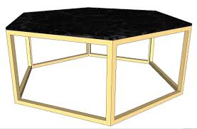 3d model gold polygon coffee table with black marble top vr ar