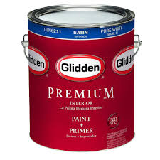 glidden premium 1 gal pure white satin interior paint gln6211 01