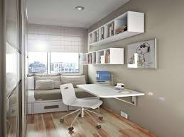 Small Brown Desk Bedroom Minimalist Rectangle White Wood Wall Shelves For Bedroom