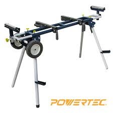 powertec mt4000 deluxe miter saw stand with wheels and 110v power