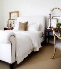 upholstered sleigh bed bedroom transitional with white on