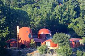 Weird House by The San Mateo County Flintstone House Is Blood Orange These Days