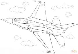 f 16 fighting falcon fighter coloring page free printable