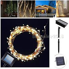 Solar Powered Outdoor Fairy Lights by 100 Led Solar Powered Garden Fairy String Lights Outdoor Indoor